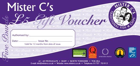 Mister C's Gift vouchers